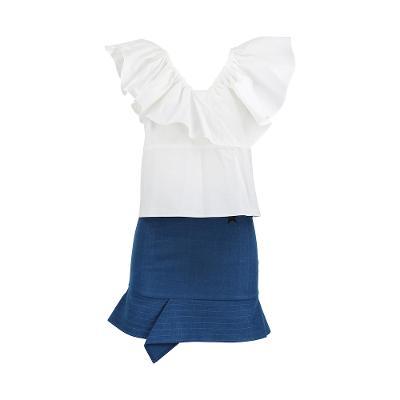 [44]Love Me Back - off shoulder ruffle blouse_a line detail skirt